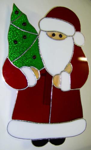Tiffany Weihnachtsmotive.Fensterbild Santa Claus Tiffany