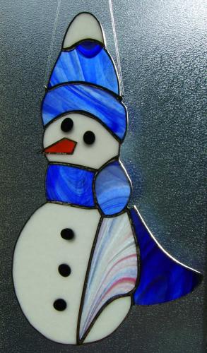 Tiffany Weihnachtsmotive.Fensterbild Schneemann Tiffany