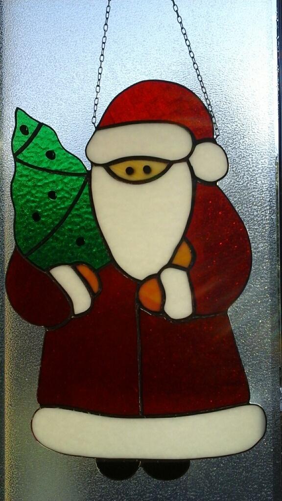 Tiffany Weihnachtsmotive.Fensterbild Santa Claus Tiffany Besonderer Blickfang